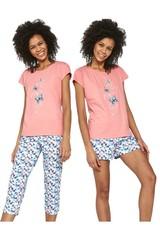 Dámské pyžamo Cornette Tree Butterflies 3-pack 665/202